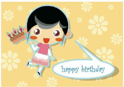 birthday cake greetings. Birthday Card with Girl and Cake Greeting Card